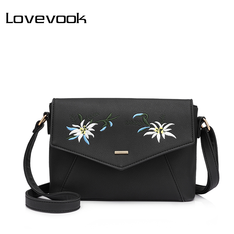 LOVEVOOK women shoulder crossbody bag female flower embroidery handbag for women messenger bags envelope Satchel Purse large PU fashion women chain messenger bag female envelope bags clutch purse bag ladies pu leather satchel shoulder handbag