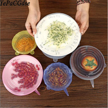 6 sets of silicone fresh cover universal refrigerator plastic wrap kitchen microwave preservation