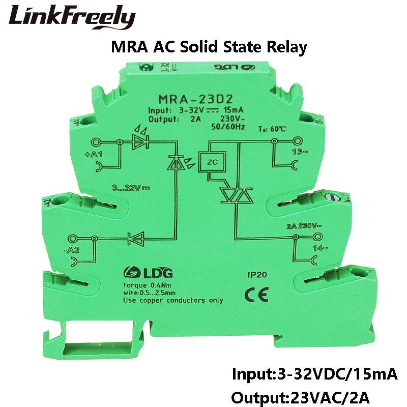"MRA-23D2 חדש מיני 6.2 מ""מ 2A קלט: 3 v 5 v 12 v 24 v DC AC SSR מצב מוצק ממסר אוטומטי ממשק מסילת DIN מתג ממסר מודול"