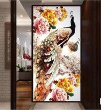 2015 продажа мода 5D круглый бриллиант живопись вышивки крестом алмазов вышивка паста для павлинов 100×50 см