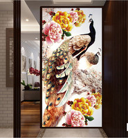 2015 Sale Fashion 5D Round Diamond Painting Cross Stitch Diamond Embroidery Paste For Peacocks 100x50cm