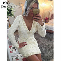 2018 Long Sleeve Evening Dresses with Lace Pearls V Neck Backless Ivory Prom Dresses Prom Party Dress Evening Dress