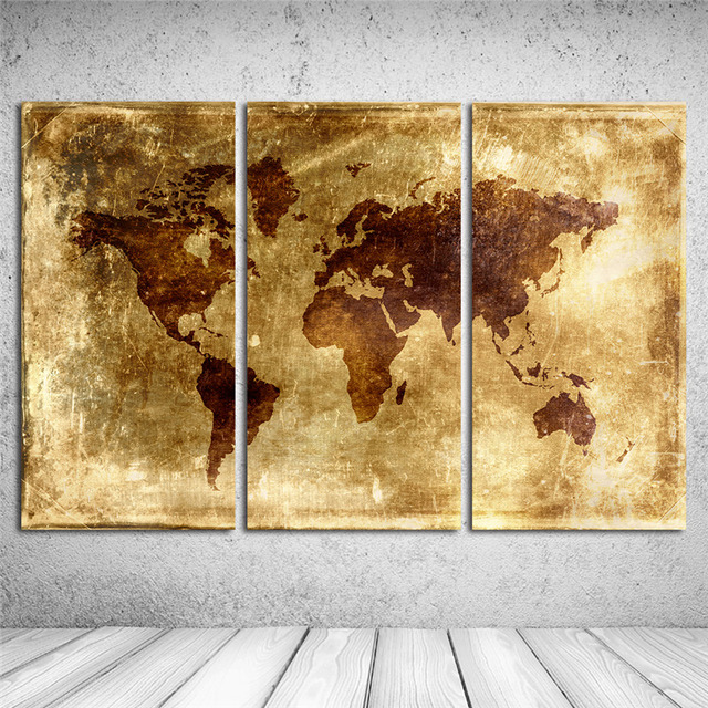 3 pieces vintage canvas wall art canvas oil painting retro world map 3 pieces vintage canvas wall art canvas oil painting retro world map landscape wall pictures home gumiabroncs Choice Image