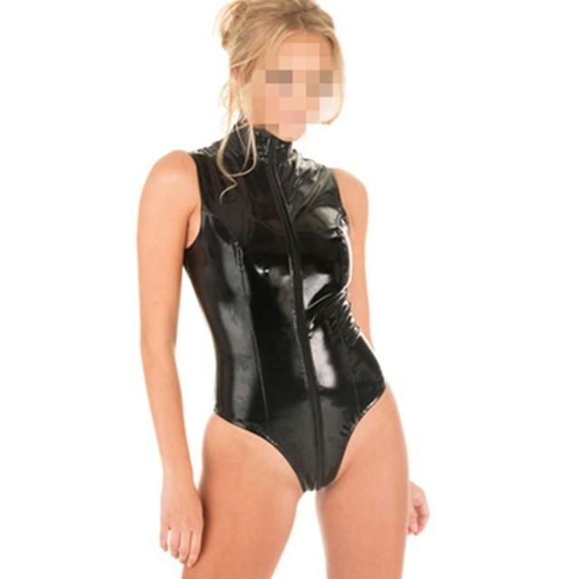Fashion Women Latex Catsuit Black Faux Leather Bodysuit Open CROTCHLESS Wet-Look PVC Fancy Jumpsuit Short S M L
