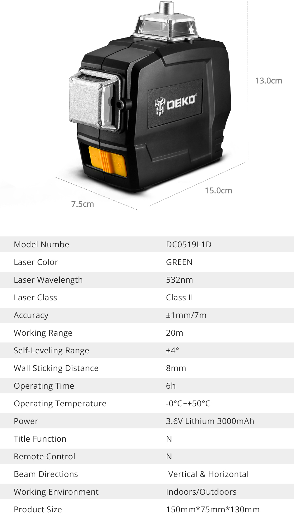 DEKO DC Series 12 Lines 3D Green Laser Level Horizontal And Vertical Cross Lines With Auto Self-Leveling, Indoors and Outdoors