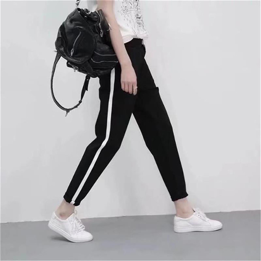 2019 New Fashion Spring Summer Sweatpants For Women Pants Loose Korean Style Pant Female Black White Striped Streetwear Trousers