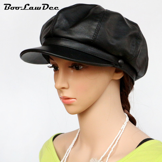 BooLawDee Genuine first layer sheep leather woman black newsboy hat painter cap 56 58 60 cm winter leisure warming wear 4A123