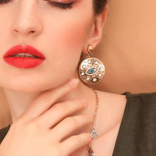 wing yuk tak Fashion Vintage Earrings For Women Gold Color Crystal Round Eye Drop 2019 Korean Jewelry