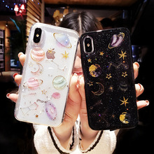 Shining Glitter Space Planet TPU Phone Case for Iphone X XS XR Max 7 6 6S 8 6Plus Transparent Soft Silicon Back Cover