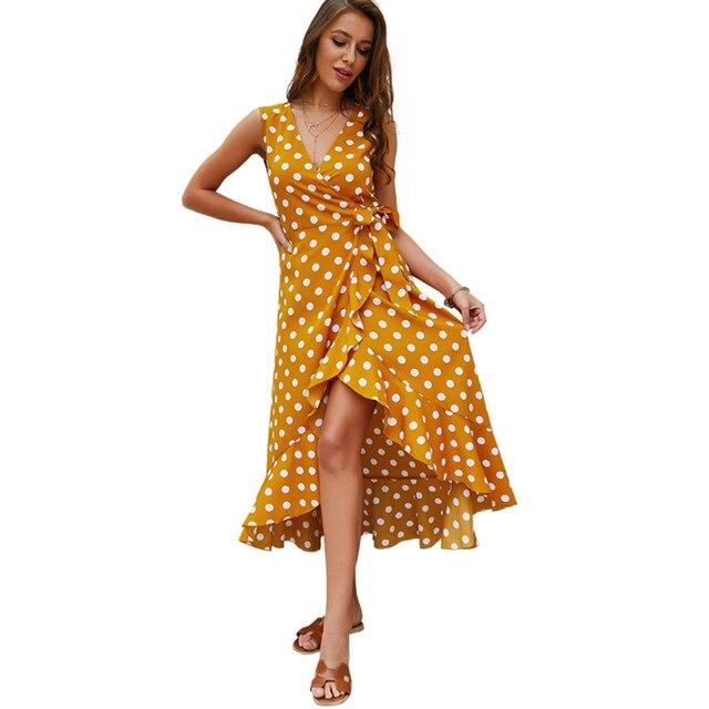 Wrap Dress Polka Dot Boho Summer Beach Dress Sundress Long Sexy Dresses Woman Party Night 2019 Robe Femme Vestidos Clothes Tunic