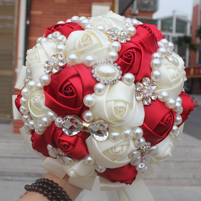 Wedding Bouquet Pearl Rhinestone Bride Hand Hold In Both Hands Marriage Decoration Articles The Wedding 18 Centimeter W226