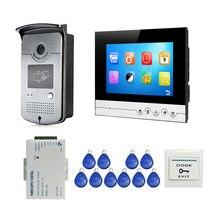 شحن مجاني شاشة ملونة 7 بوصة LCD واجهة المستخدم عرض الفيديو باب الهاتف نظام تسجيل الاتصال الداخلي + باب الوصول اللاسلكي فتح كاميرا الجرس