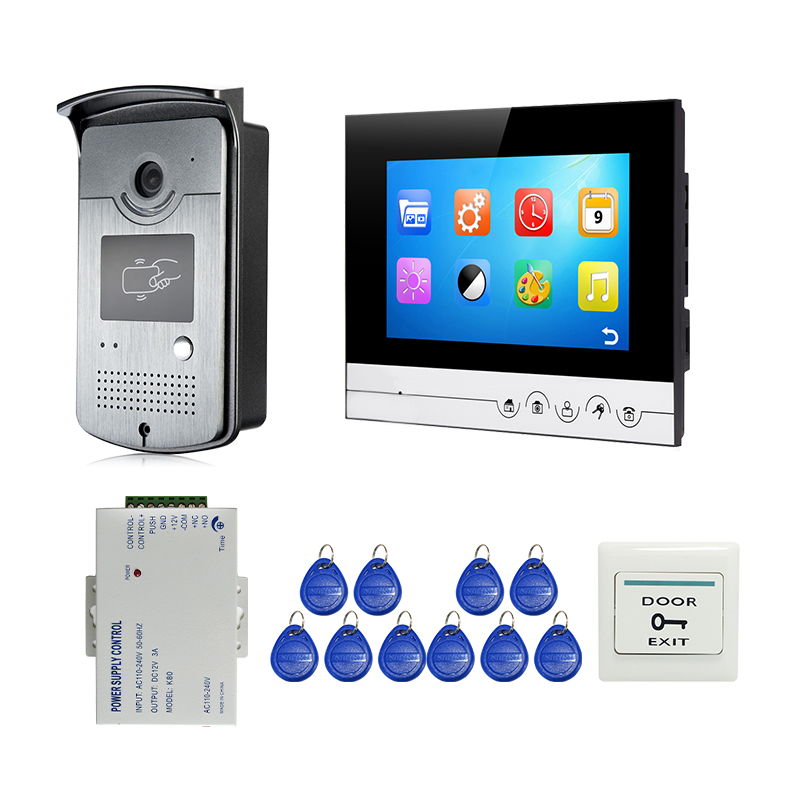 """Free Shipping 7"""" Color Screen LCD UI Display Video Door Phone Intercom Recording System + RFID Access Unlock Doorbell Camera-in Video Intercom from Security & Protection"""