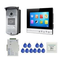 """Gratis Verzending 7 """"Kleur Screen Lcd Ui Display Video Deurtelefoon Intercom Opname Systeem + Rfid Toegang Unlock Deurbel camera"""