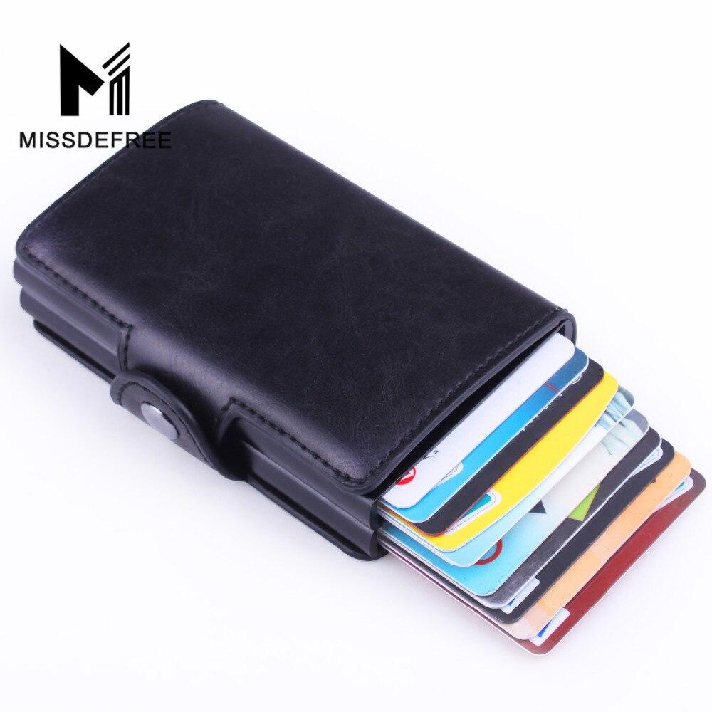 Negócio magro carteira de couro do plutônio de alumínio dupla camada titular do cartão automático pop up id cartão de crédito moeda bolsa rfid bloqueio