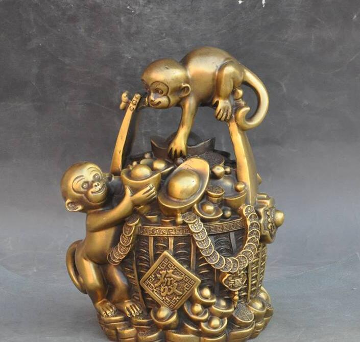 6710684++china brass wealth yuanbao money coin barrel monkey statue piggy bank money cans6710684++china brass wealth yuanbao money coin barrel monkey statue piggy bank money cans