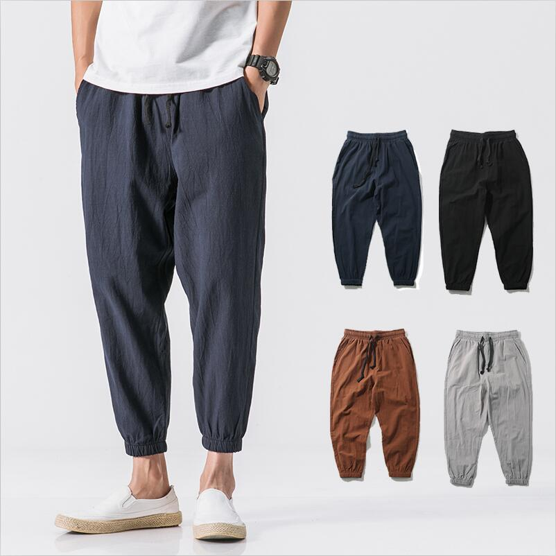 New Summer Men Solid Cotton And Linen Elastic Pencil Pants Soft Casual Loose Ankle-Length Pants Plus Size Men Pants M-6XL