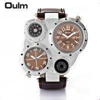 Oulm Man Watches Antique Male Quartz Watch Top Brand Luxury Sport Wristwatch Men Casual Leather Strap