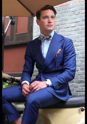 Slim Custome Masculino veste Fit Fait Picture Breasted as As De Picture Formelle Bule Pantalon Costumes Double Terno Mouchoirs Blazer Beau Cravate Mariage qwpttY