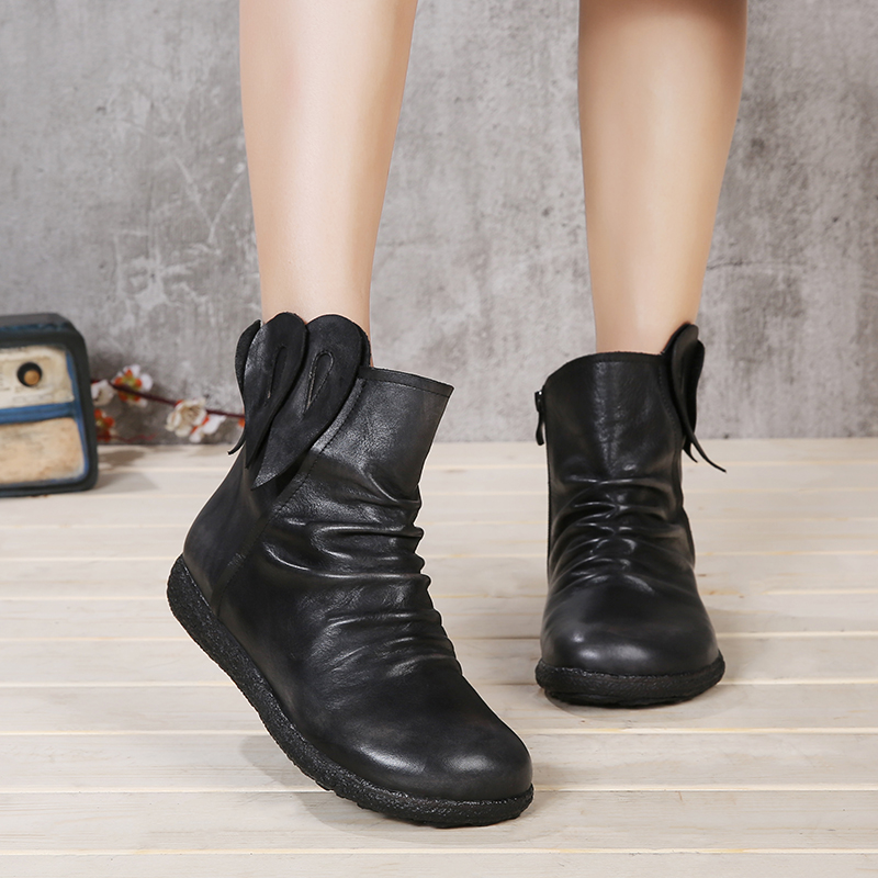 VALLU 2018 Handmade Shoes Women Flat Boots Genuine Leather Pleated Round Toes Vintage Women Ankle Boots vallu 2018 vintage handmade women shoes platform flat boots round toes pleated genuine leather ankle boots