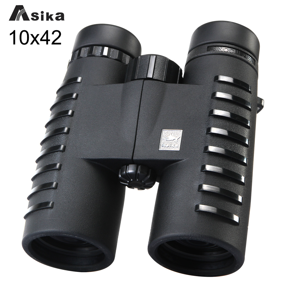 10x42 ճամբարային որսորդական շրջաններ Asika Binoculars with Qeck Strap Carry Bag Night Vision Telescope Bak4 Prism Optics Binocular