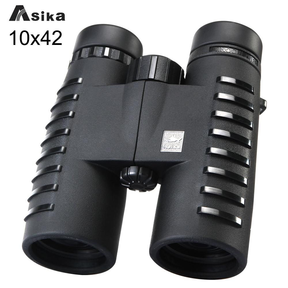 10x42 di Campeggio Caccia Scopes Asika Binocolo con Laccio da collo Borsa per il trasporto di Visione Notturna del Telescopio Bak4 Prisma Ottica Binoculare