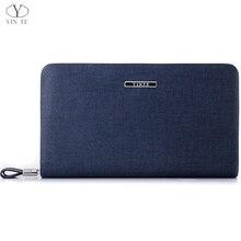 YINTE Men's Clutch Wallets Leather Handbag Organizer Wallet Phone Cash Holder Pocket Blue Color Passport Purse Two Size T029-2