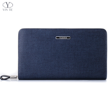 YINTE Men's Clutch Wallets Leather Handbag Organizer Wallet Phone Cash Holder Pocket Blue Color Passport Purse Two Size T029-2