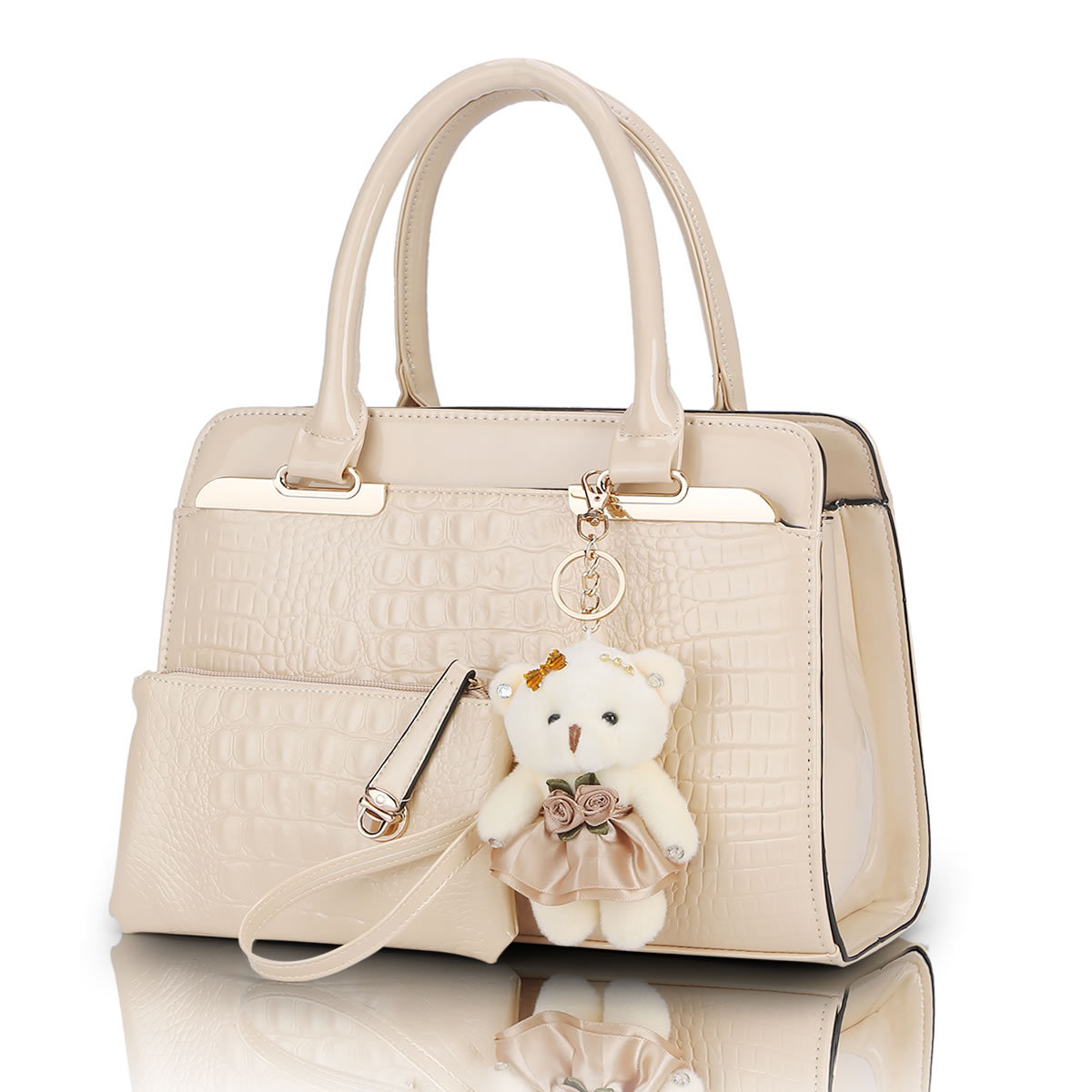 Fashion PU Patent Leather Women Shoulder Bags Elegant  Alligator Pattern Women Messenger Bags bolsos 2 bags/set w/ Bear Toy Q5