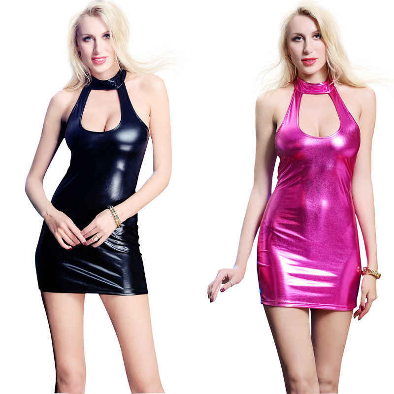 71990073fa New Sexy Women Choker Leather Wet Look Mini Bodycon Glossy Dress Clubwear  Plus Size