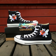 Black Converse All Star Pokemon Go Shoes Boys Girls Fish Design Hand Painted Canvas Sneakers Shoes Man Woman Birthday Gifts