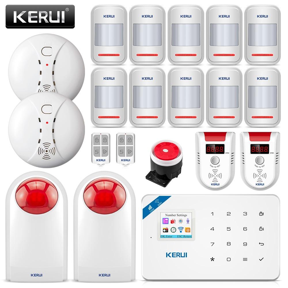 KERUI W18 Wireless APP Control LCD GSM SMS Burglar Alarm System For Home Security kerui w18 wireless wifi gsm ios android app control lcd gsm sms burglar alarm system for home security russian english voice