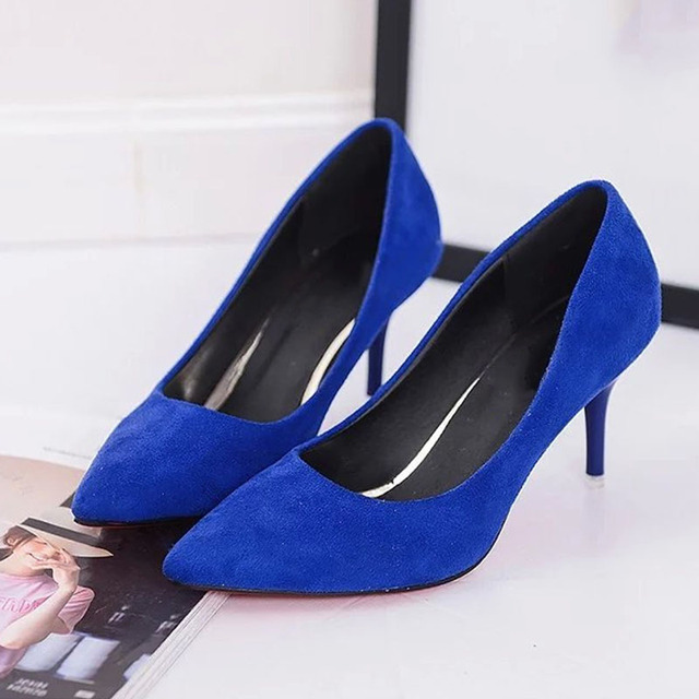 Kadınlar Seksi Pompalar PU Ince Yüksek Topuklu Kadın Ofis Yüksek Topuk Ayakkabı Klasik Sivri Burun Sığ Elbise Ayakkabı Bayanlar Artı boyutu