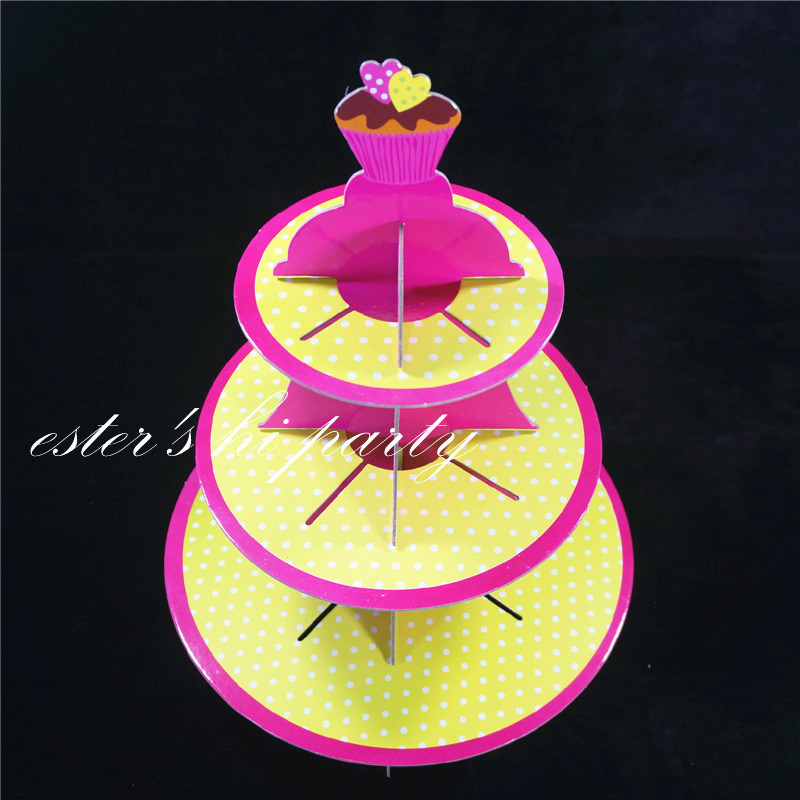 3 tier red and yellow dotted cupcake stand wedding cake stand ...