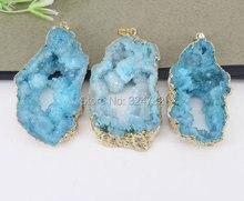 5 قطع الذهب لهجة الطبيعة كوارتز الجيود قلادة ، سحر الكريستال الكوارتز gem الحجر قلادة في اللون الأزرق ، والمجوهرات النتائج