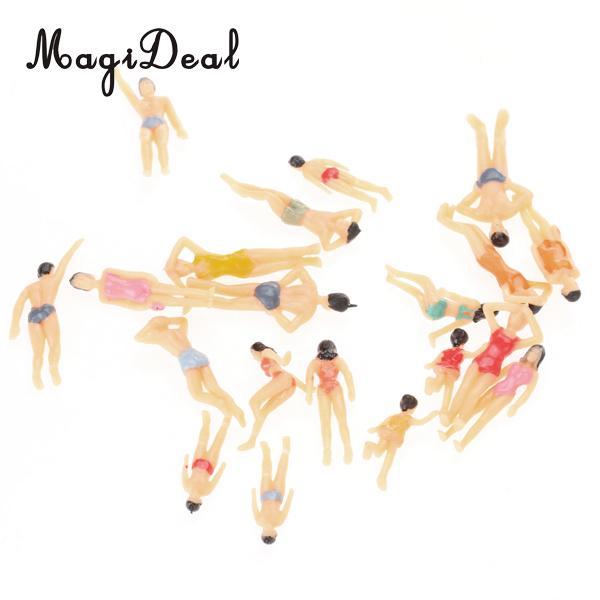 MagiDeal 20 шт. 1/50 Масштаб Окрашенные Модель пляж стоя сидящий люди цифры для морской построения моделей план комнаты Рабочий стол Декор игрушка ...