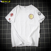 Male Size M 5XL Short Sleeved T Shirt Casual Embroidery High Quality Pure Cotton Round Collar