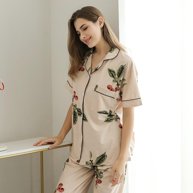 Image 4 - Summer Pajamas Cute Cartoon Print Pajamas Sets For Women Plus Size Nightgown Comfort Ladies Cotton Sleepwear Girls NightclothesPajama Sets   -