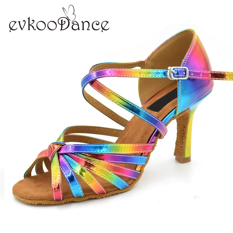 Shiny Comfortable Girls cipele s latinskim plesom za žene visoke potpetice Šarene kožne cipele Fleksibilne latino cipele za cipele 8,3 cm pete NL009