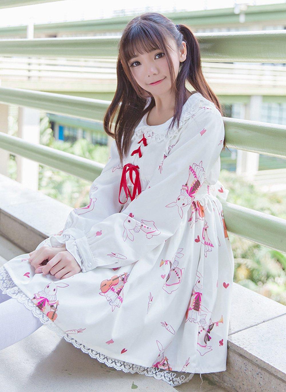 Kawaii robe femmes mignon princesse blanc rouge lapin imprimé col claudine manches longues Lolita robes