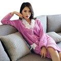 Новый Теплый Мягкий Фланель Женщин Одеяния Пижамы Pijama роковой Пижамы С Длинным Рукавом Халат женские Халаты Ночные Сорочки Халаты