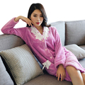 Brand new Warm Soft Flannel Womens Robes Sleepwear Pijama femme Pyjamas Long Sleeve Bathrobe Women's Robes Nightgowns Bath Robes