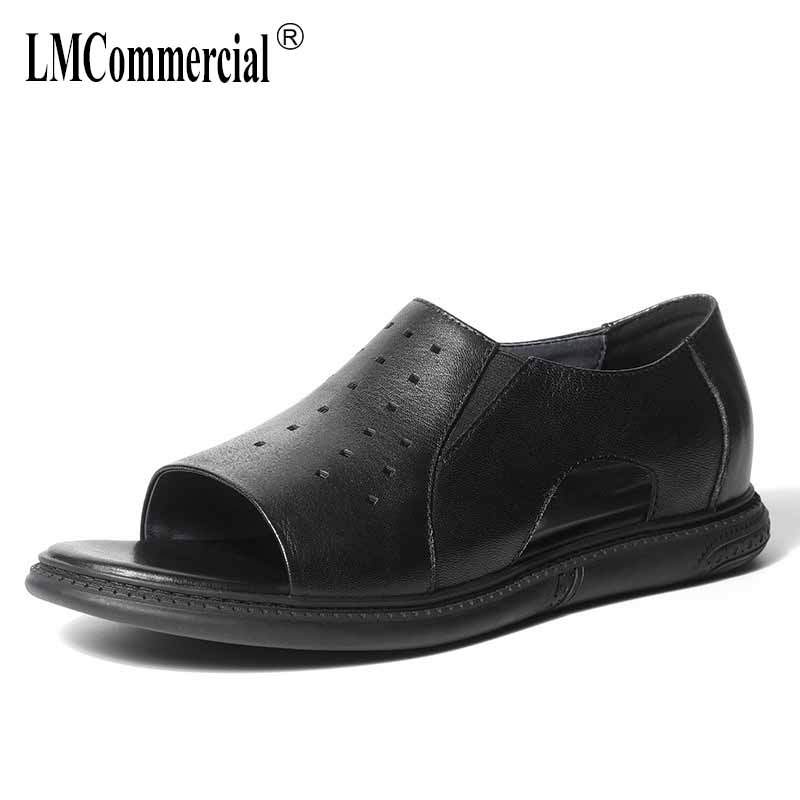 Summer Men 39 s Sandals Genuine Leather Flat Bottom Breathable Roman Sandals Youth Leisure Beach Shoes all match cowhide gladiator in Men 39 s Sandals from Shoes