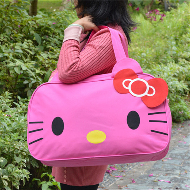 26307797e Women lolita style cute hello kitty cartoon travel waterproof oxford zipper  big size totes luggage handbags shoulder bags F18
