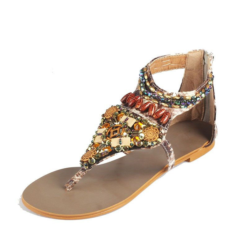 edccd9aed75a9f SUMMER STYLE Women Plus Size Sandals Size 35-41 New 2015 Nation Bohemia Rivet  Flats Sandal Fretwork Beading Roman