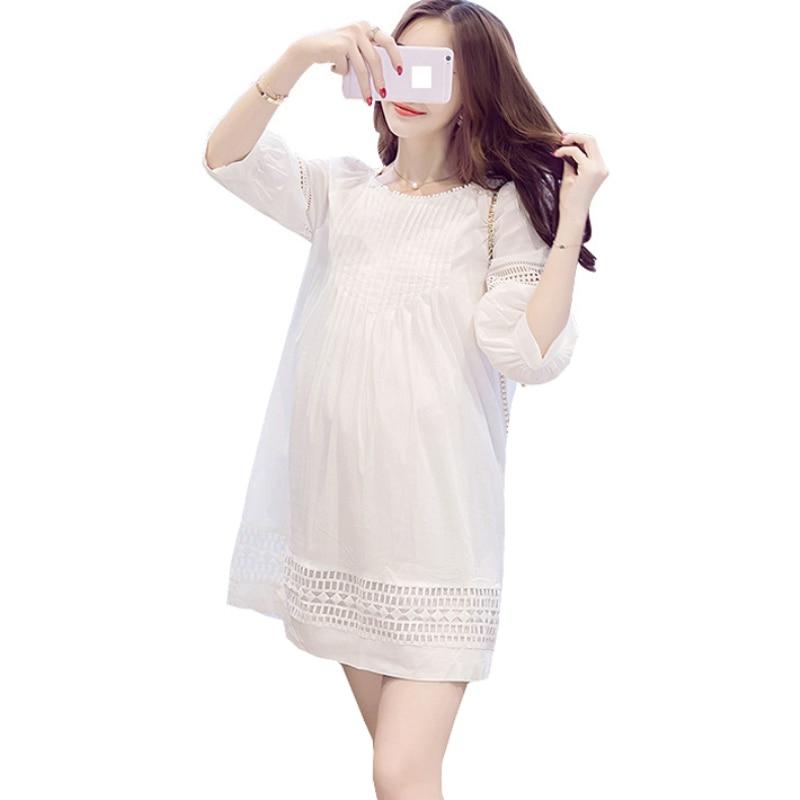 Pregnancy Korean Fashion Hollow Out White Dress for ...