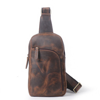 Nesitu High Quality Vintage Brown Thick Genuine Leather Cowhide Men Chest Bags Crazy Horse Leather Male Messenger Bags M073