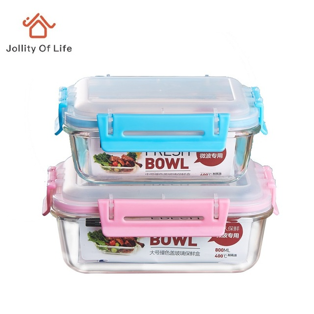 Glass boxes microwave oven storage box set lunch box lid rectangular circle  plastic bowl 21e819dffc88