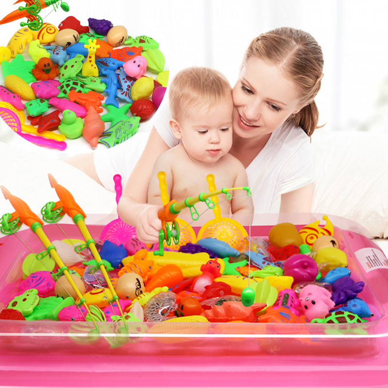 3D magnetic marine life Inflatable pool Child Model Play Fishing Games Magnetic Fishing Toy Rod Net Set Outdoor Toys