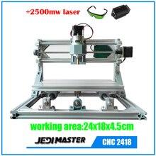 CNC 2418 + 2500 mw láser GRBL DIY CNC machine, área de trabajo 24x18x4.5 cm, 3 Ejes Fresadora de Pcb, madera Router, Pvc Molino Grabador